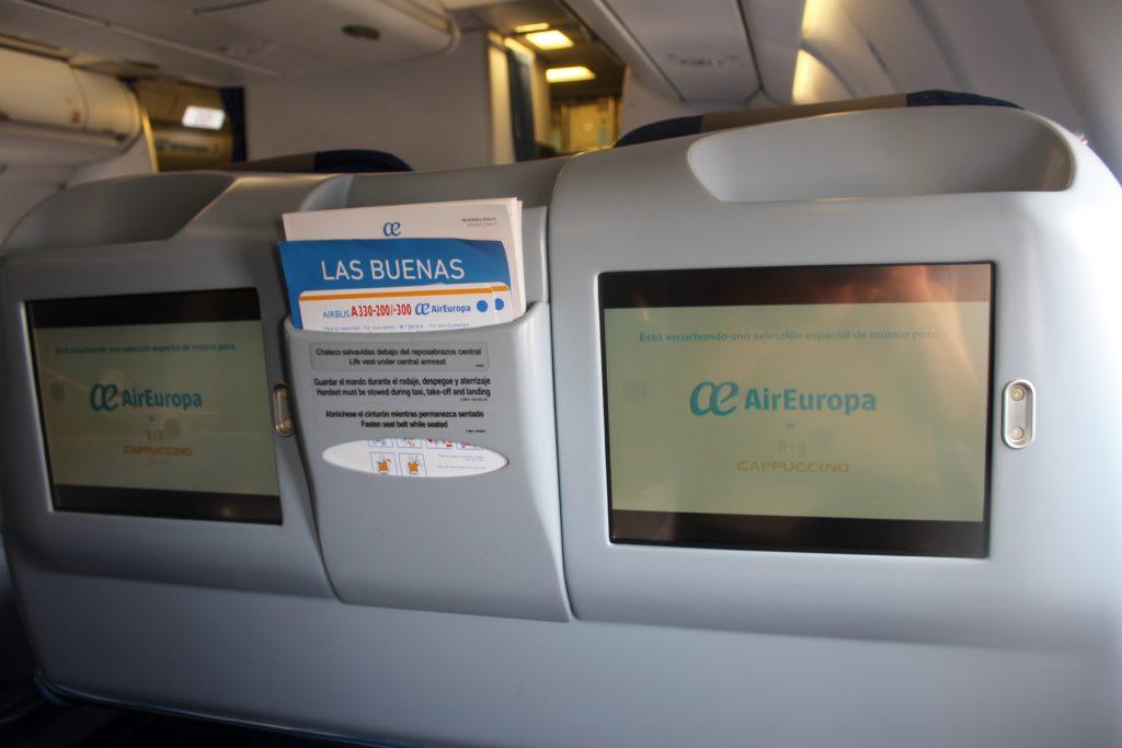 Air Europa Business Class Airbus A330 Barcelona-Madrid screen