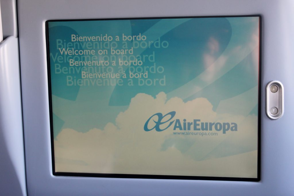 Air Europa Business Class Airbus A330 Barcelona-Madrid welcome screen