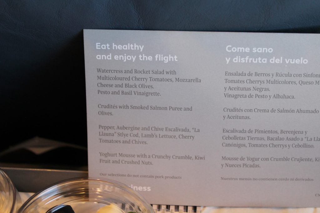 Air Europa Business Class Madrid-Amsterdam menu