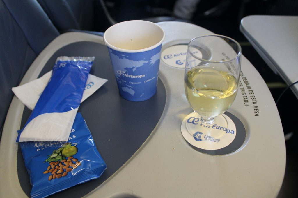 Air Europa Business Class Madrid-Amsterdam white wine and coffee