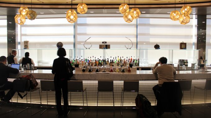 Cocktails in the United Airlines Lounge at London Heathrow