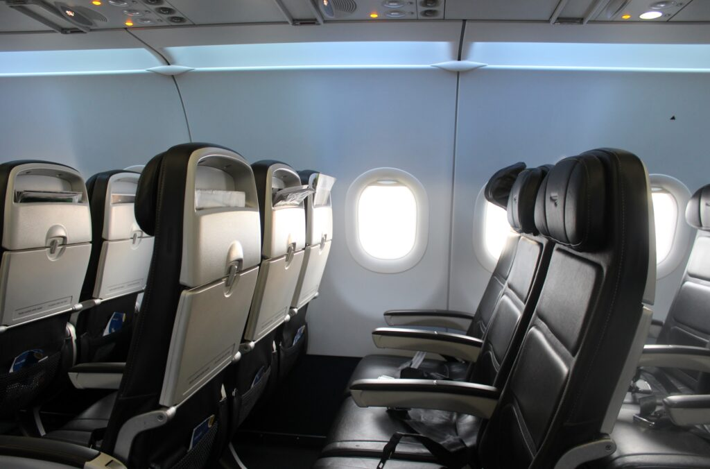The new British Airways shorthaul cabin on the Airbus A320