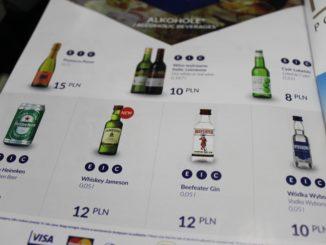 LOT Gourmet menu with drinks