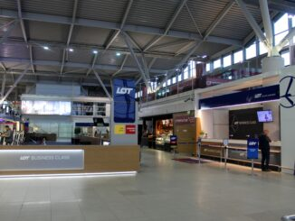 The LOT premium check-in area at Warsaw Chopin airport