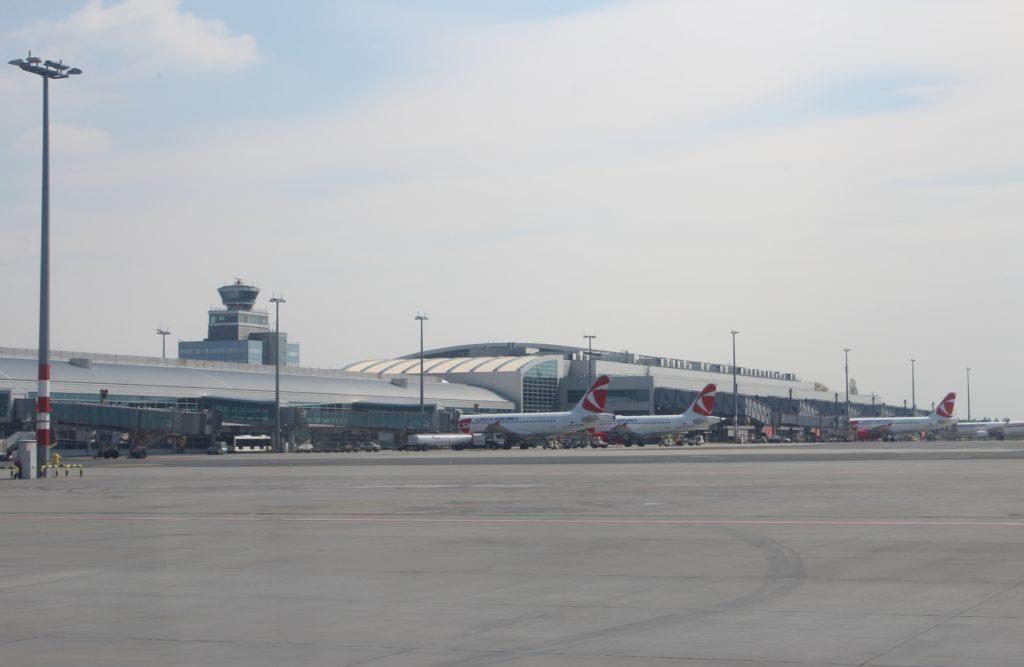 LOT Premium Economy Prague-Warsaw airport terminal