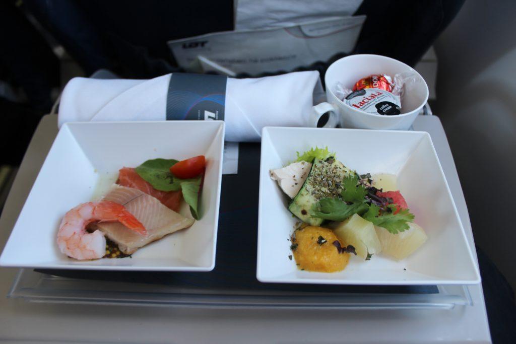 LOT Premium Economy Prague-Warsaw dinner