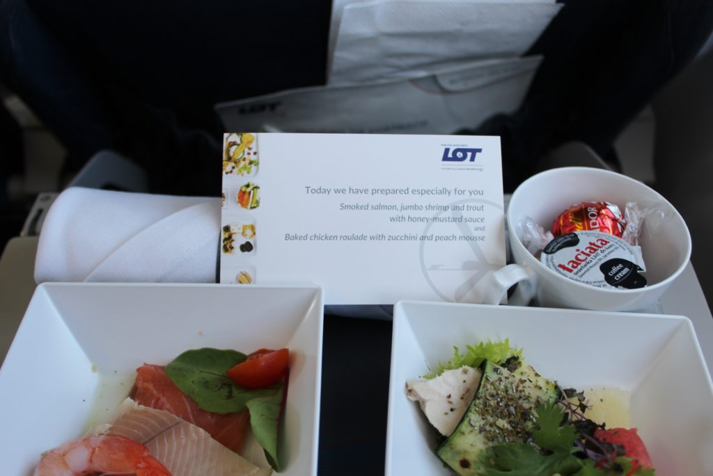 LOT Premium Economy Prague-Warsaw menu
