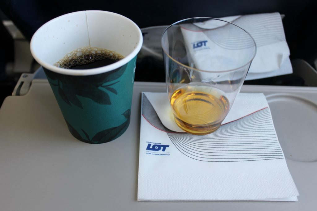 LOT Premium Economy Prague-Warsaw coffee and whisky