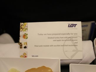 LOT Premium Economy Warsaw-Stockholm Arlanda menu