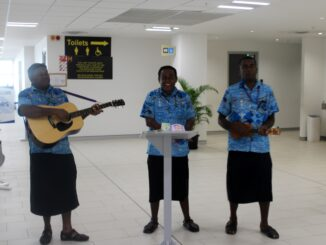 Live music in the immigration hall on arrival at Nadi airport
