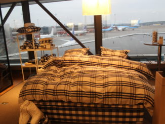 A hästens bed in the SAS Gold Lounge at Stockholm Arlanda airport