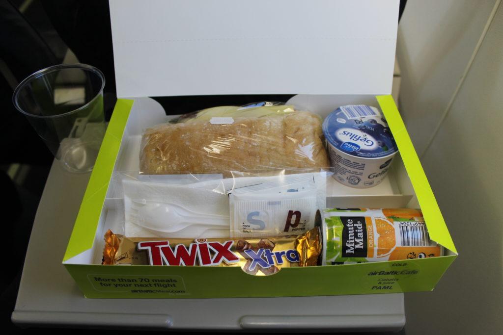Air Baltic breakfast box in economy class