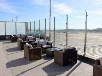Outdoor terrace in the Sala Galdos Lounge at Las Palmas airport