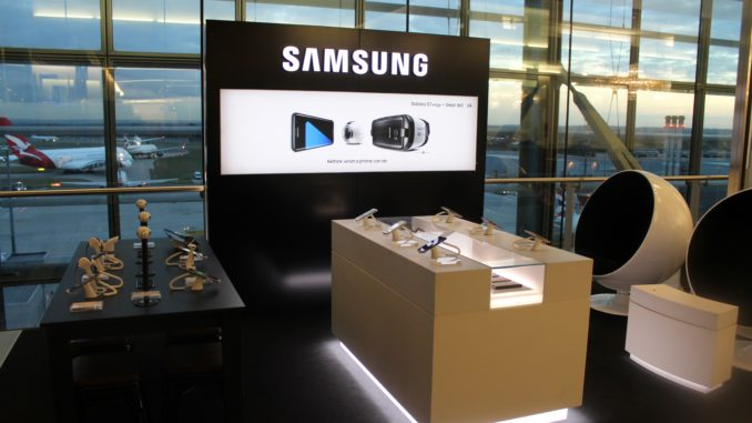 Samsung pop-up stand in the British Airways Galleries First Lounge at London Heathrow terminal 5