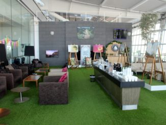 The summer terrace in the British Airways Galleries First Lounge at London Heathrow