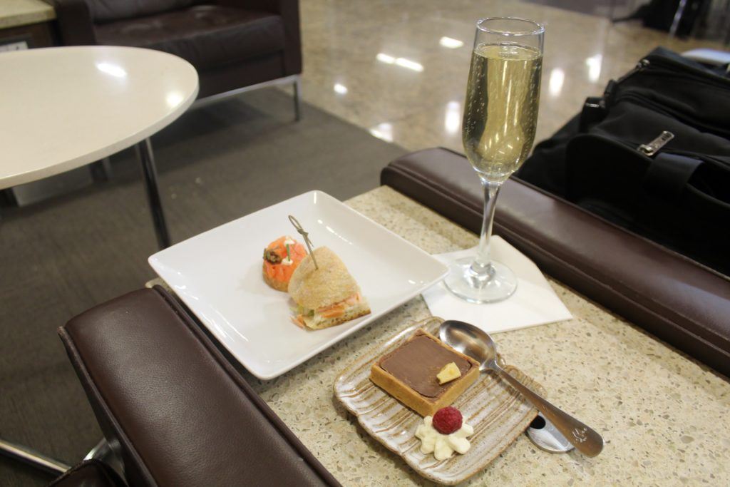 Afternoon snacks in the American Airlines first class lounge at London Heathrow