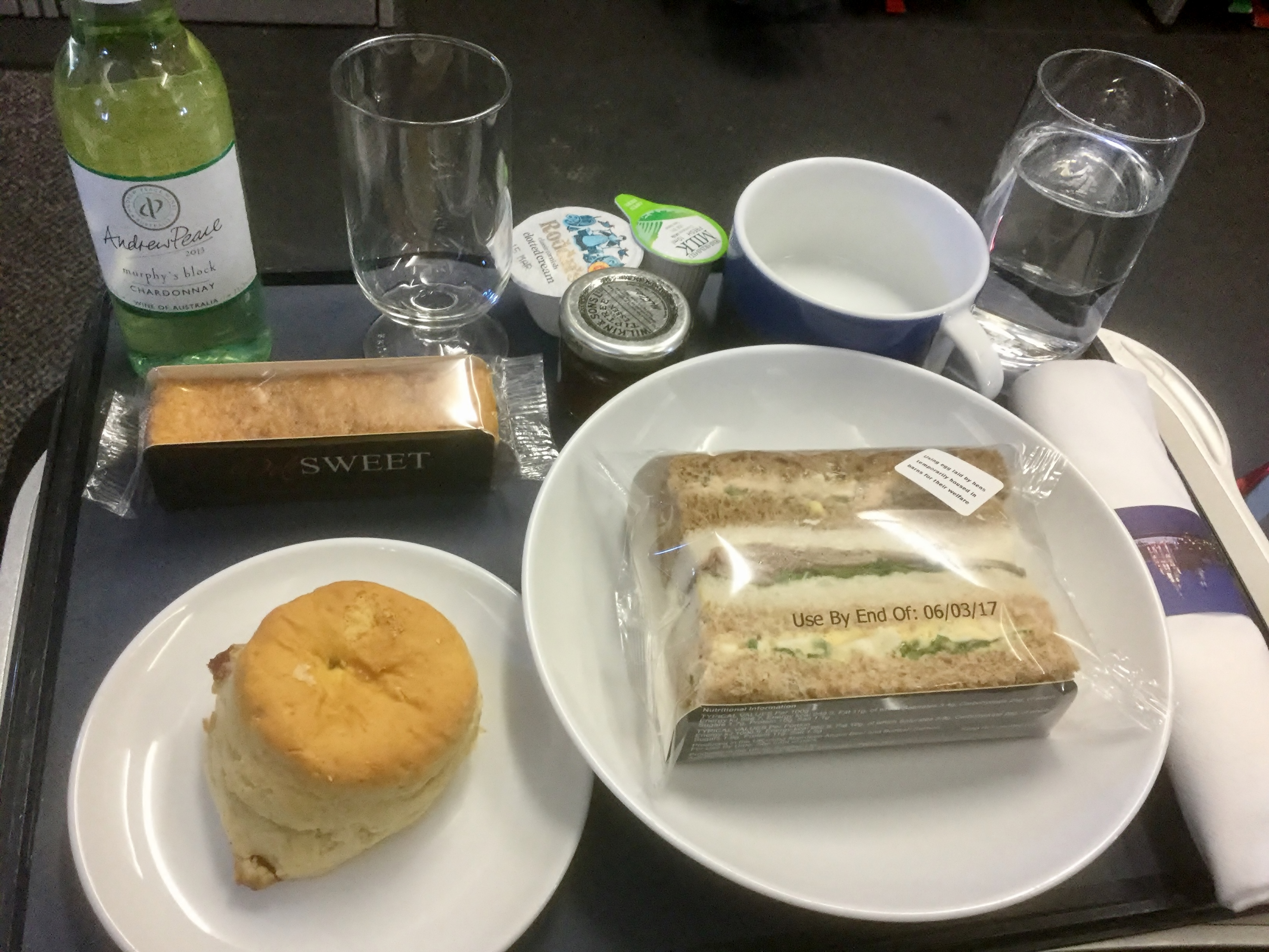 Afternoon tea in British Airways business class Club Europe