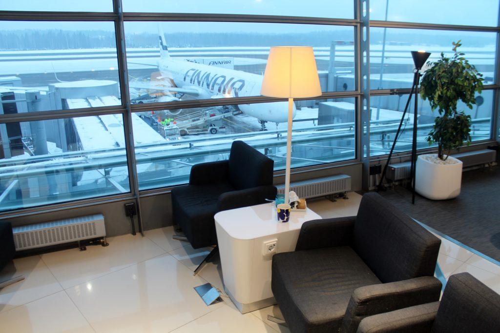 Apron view from the Finnair Schengen Lounge in Helsinki