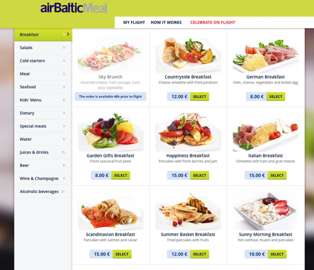 Air Baltic pre-order breakfast