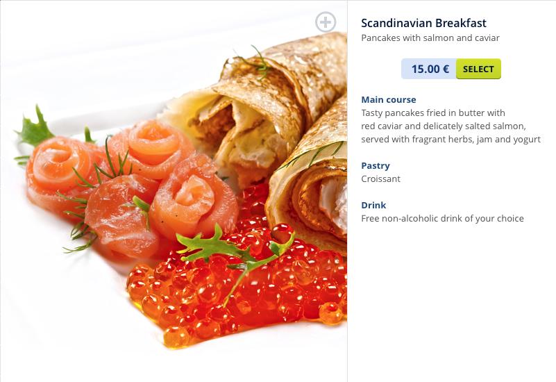 Air Baltic Scandinavian breakfast