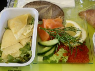 Air Baltic Scandinavian breakfast with pancakes, salmon and caviar