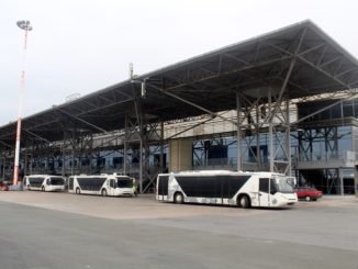 A short bus ride to the terminal building at Thessaloniki airport