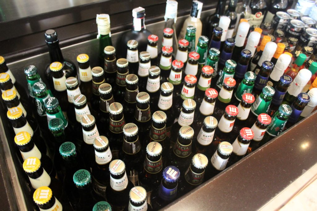 Beer selection in the Iberia Sala VIP Dali Lounge in Madrid