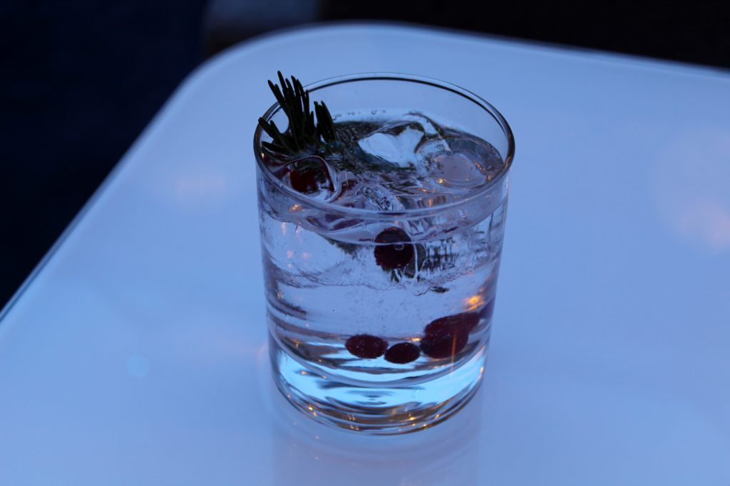 Napue gin and tonic in the Finnair Premium Lounge in Helsinki