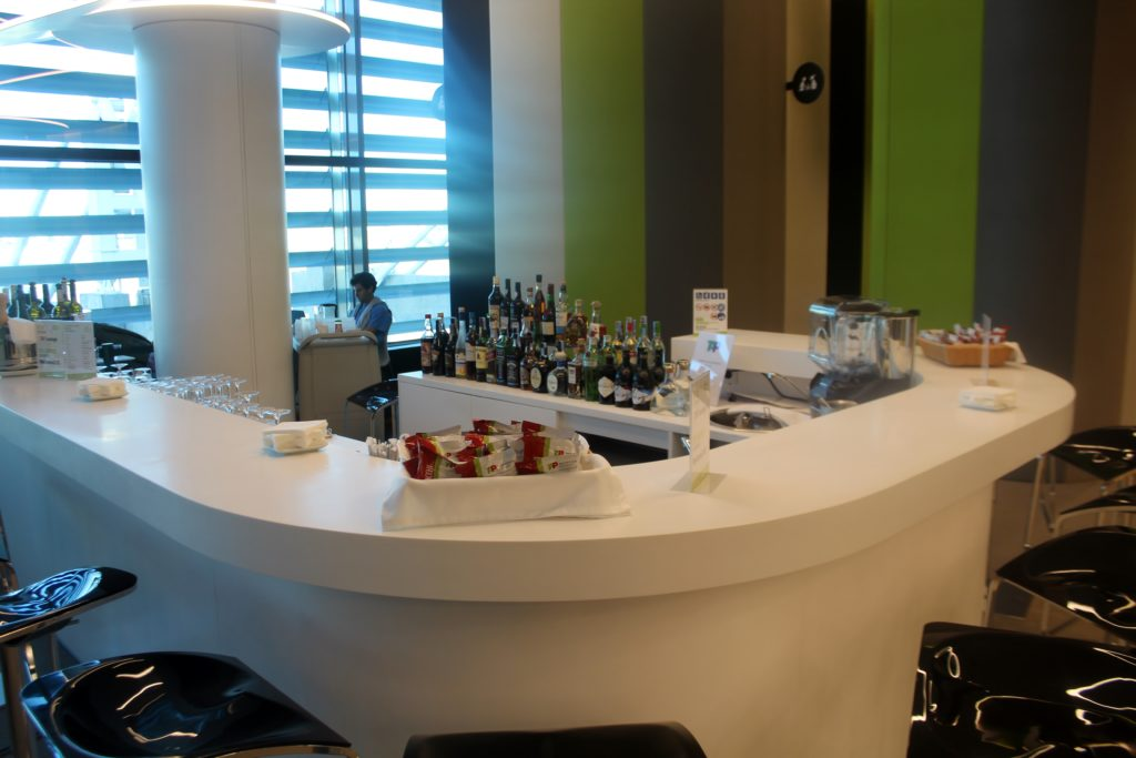 The manned bar in the TAP Portugal Lounge in Lisbon