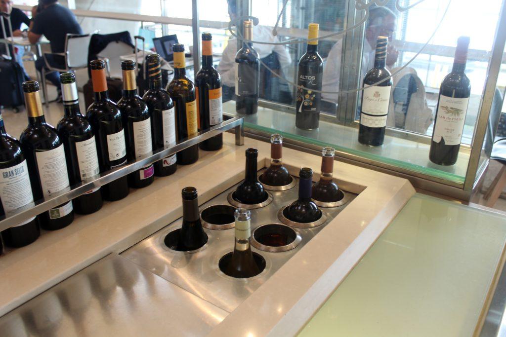 Wine selection in the Iberia Sala VIP Dali Lounge in Madrid