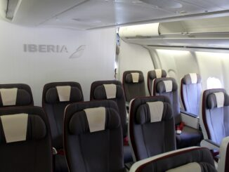 Iberia Premium Economy seats and cabin on the Airbus A340