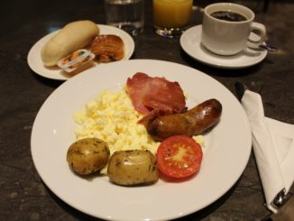 Breakfast in the Plaza Premium Arrivals Lounge at London Heathrow terminal 2