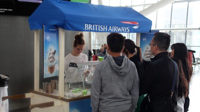 British Airways 99 years anniversary with free ice cream at London Heathrow