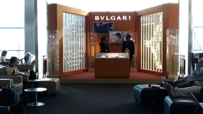 Bvlgari pop-up stand in the British Airways Galleries First Lounge at London Heathrow