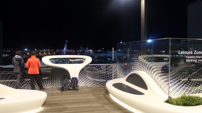 The outdoor terrace at Frankfurt airport