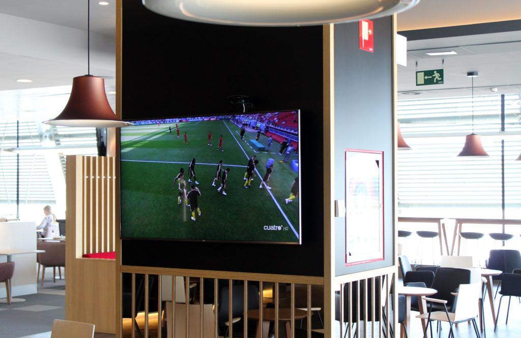 World cup football in the Iberia Lounge in Madrid