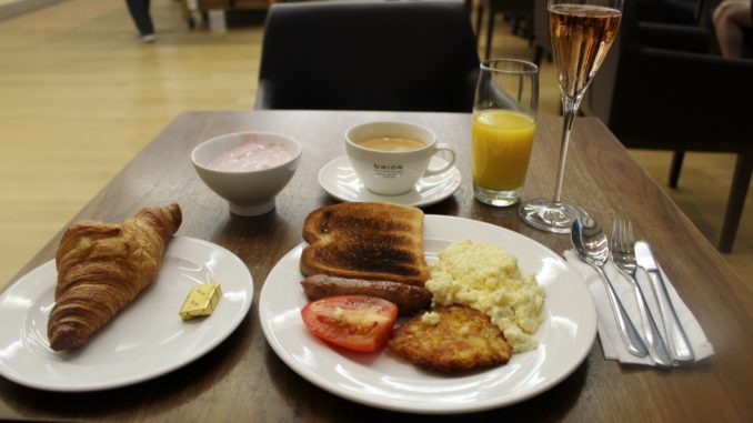 Breakfast in the British Airways Galleries First Lounge at London Heathrow