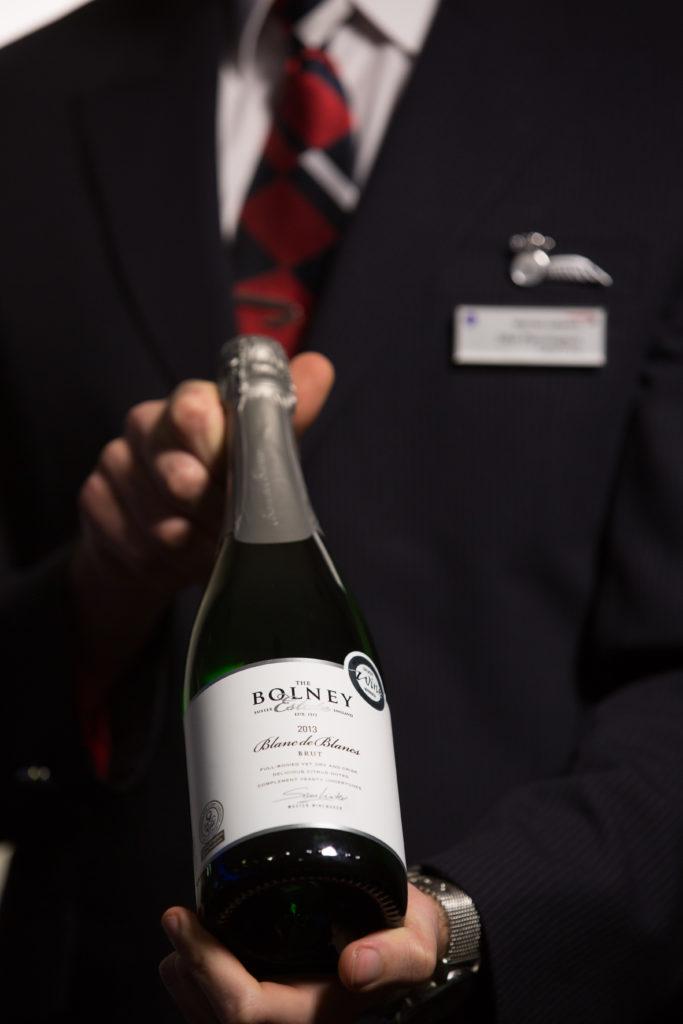 English sparkling wine in British Airways First Class