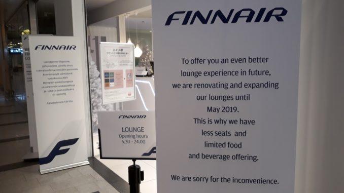 Finnair Premium Lounge in Helsinki closed for renovation