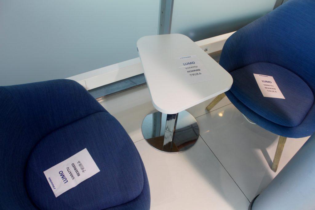 Reserved seats for Finnair Lumo in the Finnair Lounge in Helsinki
