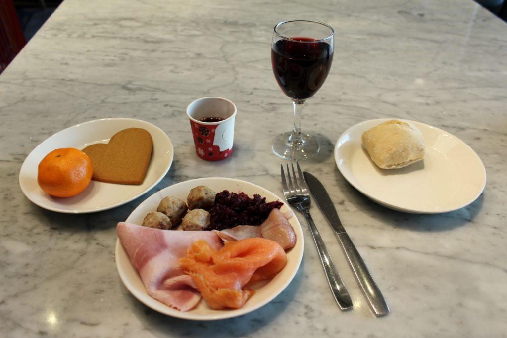 Swedish Christmas lunch in the SAS Gold Lounge at Stockholm Arlanda