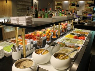 The colourful self-service buffet in the SAS Gold Lounge at Oslo Gardermoen