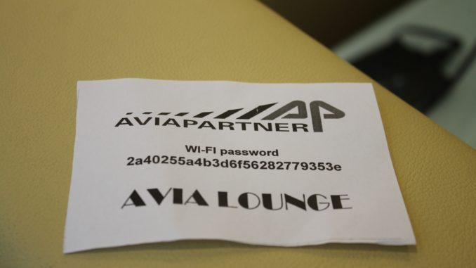 Wi-Fi code for the Avia Lounge at Rome Fiumicino airport