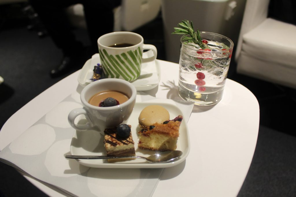 Afternoon tea in the Finnair Premium Lounge in Helsinki