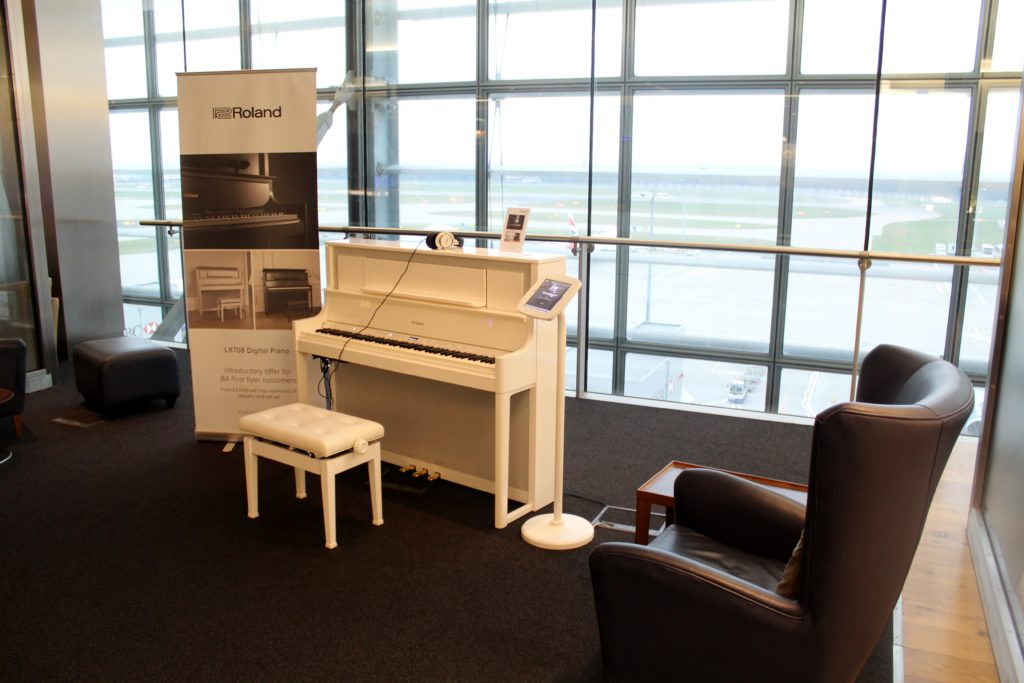 Digital piano in the British Airways Galleries First Lounge at London Heathrow