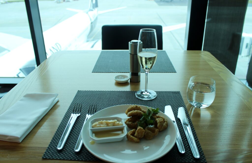 Lunch in the Qantas First Class Lounge in Melbourne