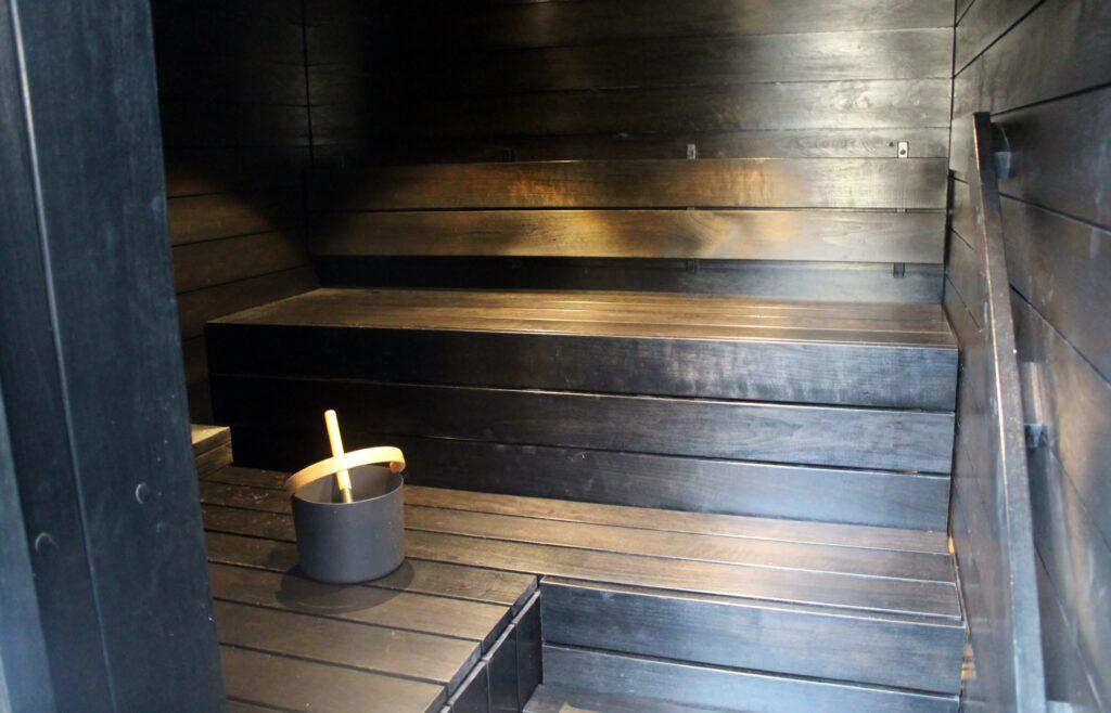 The sauna in the Finnair Platinum Wing in Helsinki
