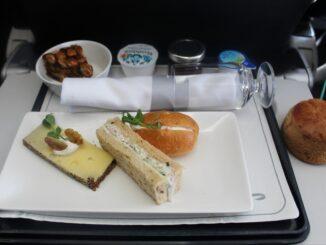 Afternoon tea in British Airways Club Europe Belfast-London