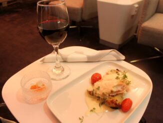 Dinner in the Finnair Premium Lounge in Helsinki