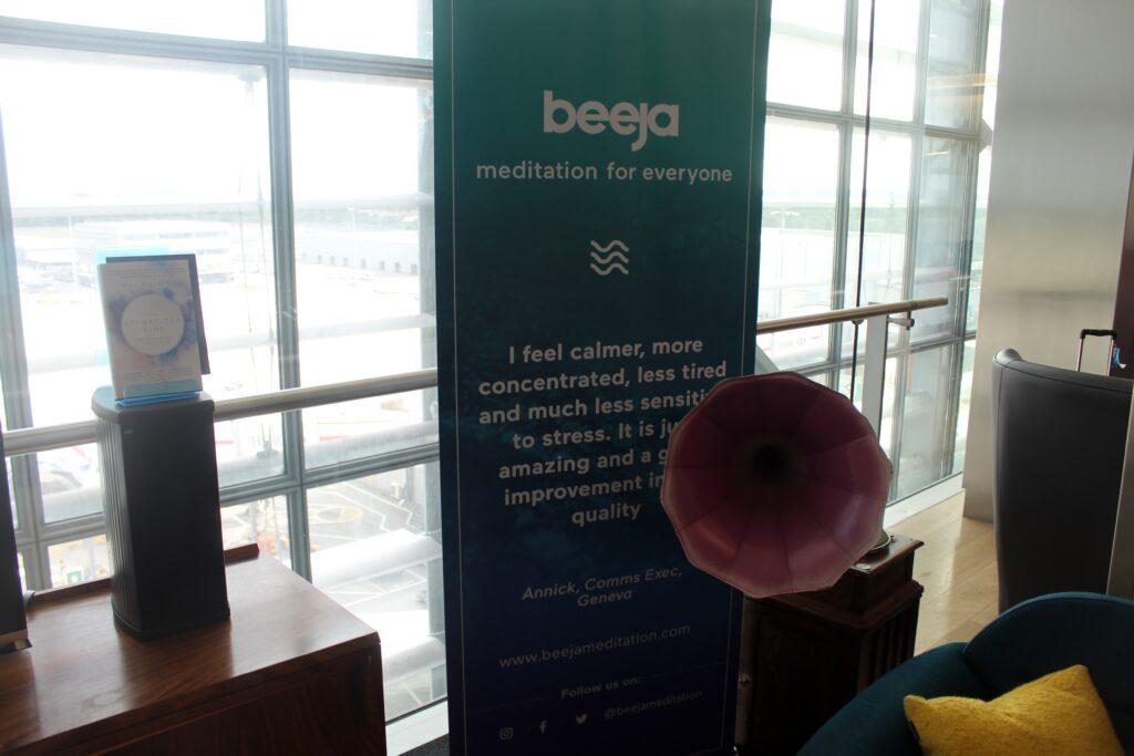 Pop-up meditation corner in the British Airways Galleries First Lounge at London Heathrow